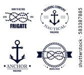 set of vintage retro nautical... | Shutterstock . vector #583387885