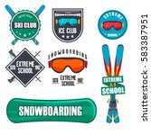 vintage snowboarding or winter... | Shutterstock . vector #583387951