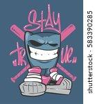 dude in sneakers. baseball club ... | Shutterstock .eps vector #583390285
