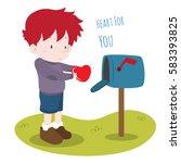 cute vector illustration of boy ... | Shutterstock .eps vector #583393825