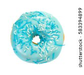 Donut With Blue Glaze And Blue...