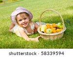 lovely little girl with a fruit ... | Shutterstock . vector #58339594