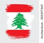 flag of lebanon  brush stroke... | Shutterstock .eps vector #583397365