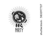 bbq party banner grill badge.... | Shutterstock .eps vector #583397737