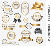 collection of golden premium... | Shutterstock .eps vector #583398634
