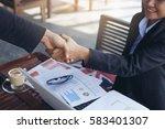 business woman working outside... | Shutterstock . vector #583401307