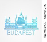 hungarian parliament building... | Shutterstock .eps vector #583401925