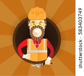 hipster builder with beard.... | Shutterstock .eps vector #583403749