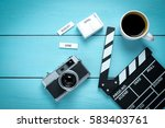clapper movie with old camera... | Shutterstock . vector #583403761
