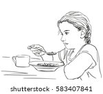 thoughtful little girl eating... | Shutterstock .eps vector #583407841