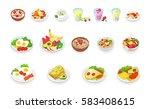 healthy breakfast food icons... | Shutterstock .eps vector #583408615