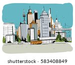 megalopolis city  street... | Shutterstock .eps vector #583408849