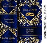 luxury wedding invitation and... | Shutterstock .eps vector #583411021