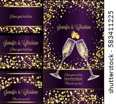 luxury wedding invitation and... | Shutterstock .eps vector #583411225