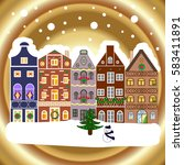 evening city winter landscape... | Shutterstock .eps vector #583411891
