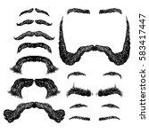 set of various shapes beard ... | Shutterstock .eps vector #583417447