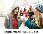 outdoor portrait of two young... | Shutterstock . vector #583418545