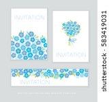 naive spring blossom invitation ... | Shutterstock .eps vector #583419031