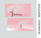 spring blossom invitation card... | Shutterstock .eps vector #583419145
