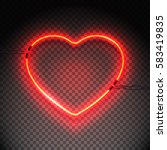 Bright Heart. Neon Sign. Retro...