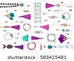 handmade turquoise and violet... | Shutterstock . vector #583425481