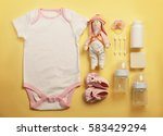 baby clothes and necessities on ... | Shutterstock . vector #583429294
