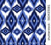 blue ikat ogee seamless... | Shutterstock .eps vector #583435081