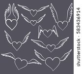 hearts with wings  vector set | Shutterstock .eps vector #583436914