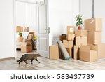 packed household stuff for...   Shutterstock . vector #583437739