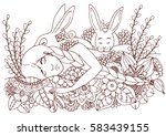 vector illustration zentangl... | Shutterstock .eps vector #583439155