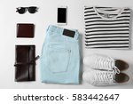 flat lay set of male clothes... | Shutterstock . vector #583442647
