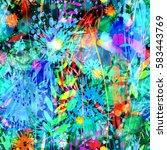 grunge floral seamless texture. ... | Shutterstock .eps vector #583443769