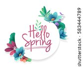 round banner with the  hello... | Shutterstock .eps vector #583444789