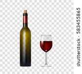 transparent bottle with red... | Shutterstock .eps vector #583455865
