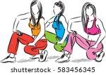 group of fitness women...   Shutterstock .eps vector #583456345