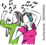women listening music and...   Shutterstock .eps vector #583456501