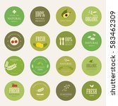 set of natural label and... | Shutterstock .eps vector #583462309