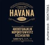 typeface. label. cigar havana... | Shutterstock .eps vector #583470061