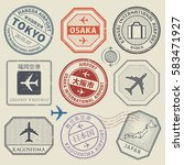travel stamps or adventure... | Shutterstock .eps vector #583471927