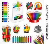 different style drawing pencils.... | Shutterstock .eps vector #583478599