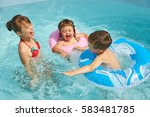 children in inflatable swimming ... | Shutterstock . vector #583481785