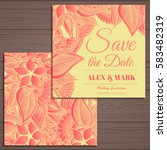 wedding invitation card suite... | Shutterstock .eps vector #583482319