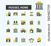 houses  home icons  | Shutterstock .eps vector #583482709