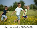 three cute children running... | Shutterstock . vector #58348450
