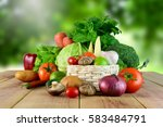 fresh vegetables on wooden and... | Shutterstock . vector #583484791