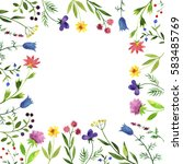 frame with watercolor doodle... | Shutterstock . vector #583485769