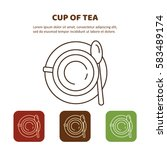 line icon cup of tea.  top view.... | Shutterstock .eps vector #583489174