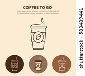 coffee to go icon. paper cup... | Shutterstock .eps vector #583489441