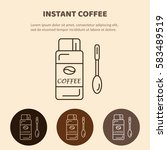 coffee glass jar with instant... | Shutterstock .eps vector #583489519