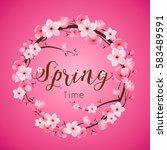 cherry blossom realistic vector ... | Shutterstock .eps vector #583489591